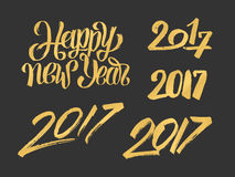 New Year 2017 hand drawn calligraphy numbers set Stock Image