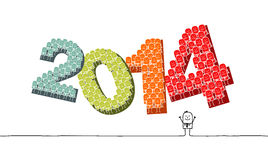 New Year 2014. Hand drawn cartoon characters Royalty Free Stock Image