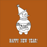 New year hand drawn doodle. Doodle for New Year. Hand drawn design element. Funny creature holding banner with 2016 digits for holiday project Royalty Free Stock Image