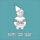 New year hand drawn doodle. Doodle for New Year. Hand drawn design element. Funny creature holding banner with 2016 digits for holiday project Stock Image
