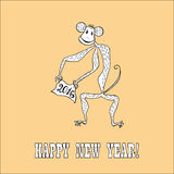 New year hand drawn doodle. Doodle for New Year. Hand drawn design element. Funny creature holding banner with 2016 digits for holiday project Stock Photos