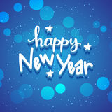 New Year hand drawn lettering on blue vector background with sparkles Stock Images