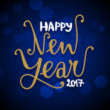 New Year hand drawn lettering on dark blue  background wit Royalty Free Stock Photography