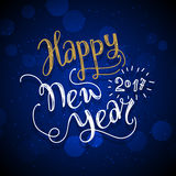 New Year hand drawn lettering on dark blue vector background with sparkles Royalty Free Stock Photography