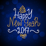 New Year hand drawn lettering on dark blue vector background with sparkles Royalty Free Stock Photo