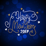 New Year hand drawn lettering on dark blue vector background Royalty Free Stock Images