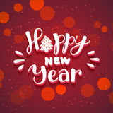 New Year hand drawn lettering on dark red vector background with sparkles Royalty Free Stock Photos