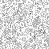 New year 2018 hand drawn outline festive seamless pattern with snowflakes, christmas balls, deers and stars  on. White background. coloring antistress book for Royalty Free Stock Images