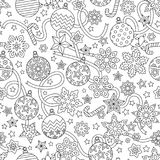 New year hand drawn outline festive seamless pattern with snowflakes. Christmas balls and stars isolated on white background. coloring antistress book for Royalty Free Stock Photography