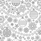 New year hand drawn outline festive seamless pattern with snowflakes. Christmas balls and stars isolated on white background. coloring antistress book for Royalty Free Stock Image