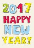 New Year 2017 hand drawn pastel sign. Happy New Year 2017 hand drawn colorful pastel sign Stock Photo