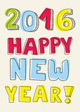 New Year 2016 hand drawn pastel vector sign. New Year 2016 hand drawn colorful vector sign on pastel background stock illustration