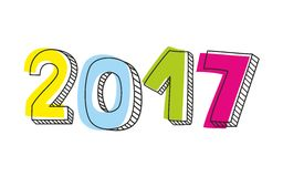 New Year 2017 hand drawn sign isolated on white background. New Year 2017 hand drawn pastel sign isolated on white background stock illustration