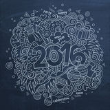2016 New year hand lettering and doodles elements. Background. Vector chalkboard illustration Stock Photo