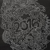 2016 New year hand lettering and doodles elements. Background. Vector chalkboard illustration Stock Images