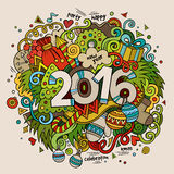 2016 New year hand lettering and doodles elements. Background. Vector colorful illustration Royalty Free Stock Photo