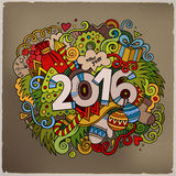 2016 New year hand lettering and doodles elements. Background. Vector colorful illustration Stock Photos