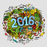 2016 New year hand lettering and doodles elements. Background. Vector colorful illustration Stock Photography