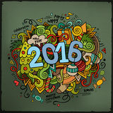 2016 New year hand lettering and doodles elements. Background. Vector colorful illustration Stock Illustration