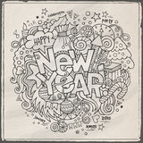 New year hand lettering and doodles elements Stock Image