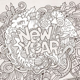 New year hand lettering and doodles elements Stock Photo