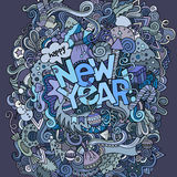 New year hand lettering and doodles elements Royalty Free Stock Photos