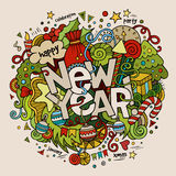 New year hand lettering and doodles elements. Background. Vector illustration Stock Photos