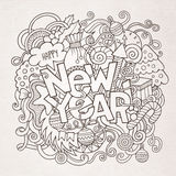New year hand lettering and doodles elements Royalty Free Stock Photography