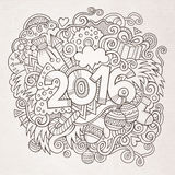 New year hand lettering and doodles elements. 2016 New year hand lettering and doodles elements background. Vector sketchy illustration Royalty Free Stock Image