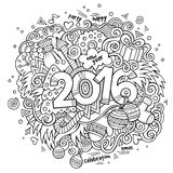 New year hand lettering and doodles elements. 2016 New year hand lettering and doodles elements background. Vector sketchy illustration Royalty Free Stock Photography
