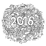 2016 New year hand lettering and doodles elements. Background. Vector sketchy illustration Stock Illustration