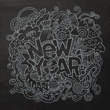 New year hand lettering and doodles elements chalk Stock Images
