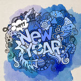 New Year hand lettering and doodles elements Royalty Free Stock Image