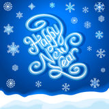 New year hand lettering  handmade. Calligraphy and snowflakes on blue background vector Royalty Free Illustration
