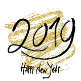 2019 gold lettering. 2019 New Year. Hand written lettering. Happy Holidays card design. Vector illustration Royalty Free Stock Photos
