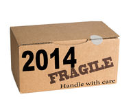 New Year - handle with care. New year future concept stock photos