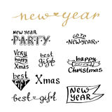 New Year handwritten lettering set. For cards and blog icon. Best gift, xmas.  Royalty Free Stock Image