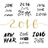 2016 New Year handwritten sign bundle. Calligraphic lettering numbers. 2016 New Year handwritten sign bandle. Calligraphic lettering numbers Royalty Free Stock Photography