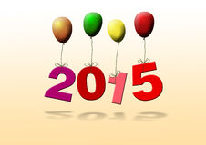 New year 2015. Hanging on colorful balloons Royalty Free Illustration