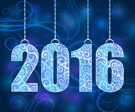 New 2016 year hanging figures. New 2016 year cut paper figures hanging on strings Stock Photography