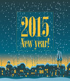 New Year 2015. Happy New Year on the background of night city vector illustration