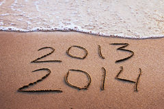 New year 2013 - 2014. Happy new year 2013 - 2014 on the beach Stock Photo