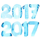 New year 2017. Happy new year 2017 - Blue watercolor number  over the white background Royalty Free Stock Image