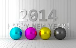 New Year 2014. Happy New Year 2014 calendar cmyk background Royalty Free Illustration