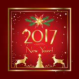 New Year 2017. Happy New Year 2017 Celebration card. Christmas decoration For Winter Holiday greeting card, banner, poster, festival, carnival. Vector Stock Photos