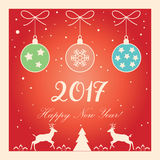 New Year 2017. Happy New Year 2017 Celebration card. Christmas decoration For Winter Holiday greeting card, banner, poster, festival, carnival. Vector Royalty Free Stock Photos