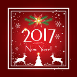 New Year 2017. Happy New Year 2017 Celebration card. Christmas decoration For Winter Holiday greeting card, banner, poster, festival, carnival. Vector Royalty Free Stock Photo