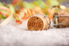 New year. Happy new year - champagne cork stock photos