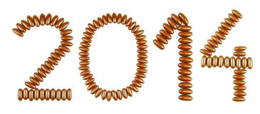 New Year 2014. Happy New Year 2014 with chocolate candies (isolated on white background Stock Photos