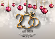 2015 New Year and Happy Christmas background for your flyers. Includes a lot of festive themed elements: balls, stars, golden words and shapes Stock Photo